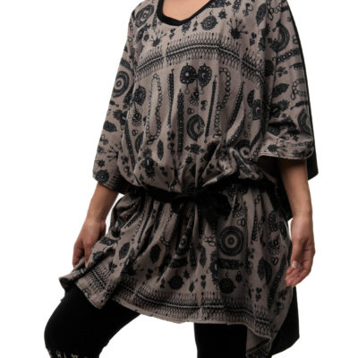 Kara Caftan-Grey Black Jewel Print