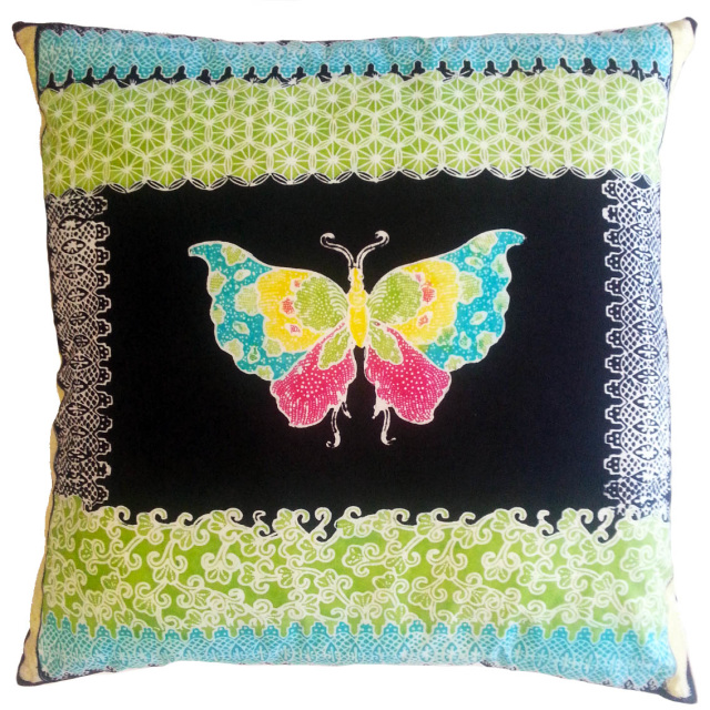 Traditional Batik Butterfly Cushion SaraThorn.com.au